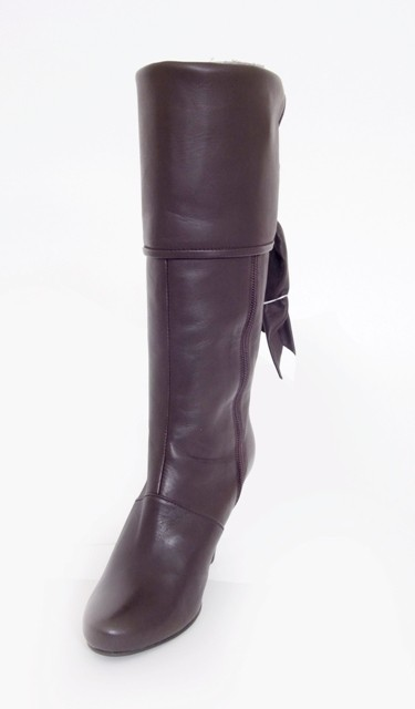 Brown Knee Boot with Fold Down Top