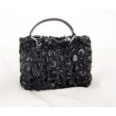 Black Handbag with Ruffle Design